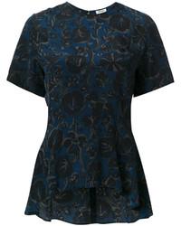 Blusa de seda con print de flores azul marino de Kenzo