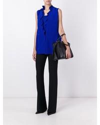 Blusa de seda con volante azul de Maison Margiela