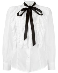 Blusa de seda con volante blanca de Marc Jacobs