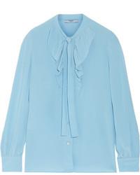 Blusa de seda con volante celeste de Prada