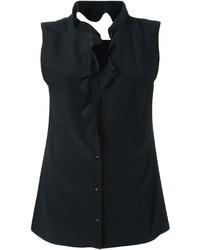 Blusa de seda con volante negra de Maison Margiela