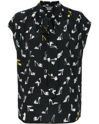 Blusa de seda estampada negra de Moschino