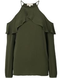 Blusa plisada verde oliva de MICHAEL Michael Kors