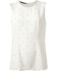 Blusa sin mangas a lunares en blanco y negro