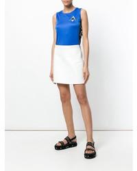 Blusa sin mangas bordada azul de Marcelo Burlon County of Milan