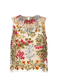 Blusa sin mangas bordada en beige de RED Valentino