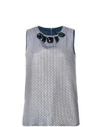 Blusa sin mangas bordada gris