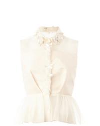 Blusa sin mangas con adornos en beige de DELPOZO
