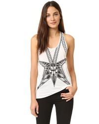 Blusa sin mangas con estampado geométrico blanca de Herve Leger