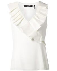 Blusa sin mangas con volante blanca de Badgley Mischka
