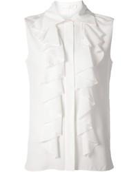 Blusa sin mangas con volante blanca de Chloé