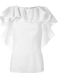 Blusa sin mangas con volante blanca de Lanvin