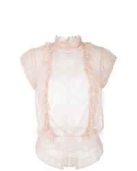 Blusa sin mangas con volante en beige de Zadig & Voltaire