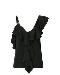 Blusa sin mangas con volante negra