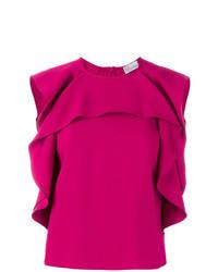 Blusa sin mangas con volante rosa