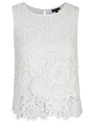 Blusa sin mangas de crochet blanca