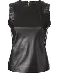 Blusa sin mangas de cuero negra de DSquared