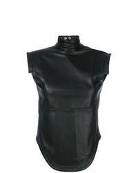 Blusa sin mangas de cuero negra de Manokhi