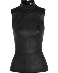 Blusa sin mangas de cuero negra de Thierry Mugler