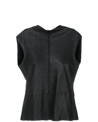 Blusa sin mangas de cuero negra de Vanderwilt