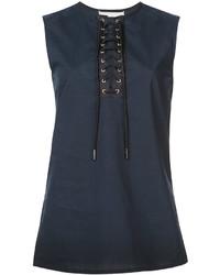 Blusa sin mangas de encaje azul marino