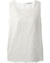Blusa sin mangas de encaje blanca de Ermanno Scervino