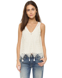 Blusa sin mangas de encaje blanca de Ramy Brook
