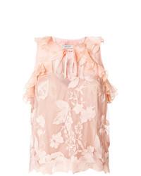 Blusa sin mangas de encaje rosada de Three floor