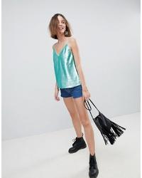 Blusa sin mangas de lentejuelas en verde menta de ASOS DESIGN