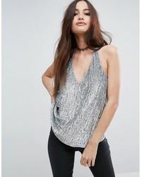 Blusa sin mangas de lentejuelas plateada de Asos