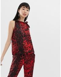 Blusa sin mangas de leopardo roja de B.young