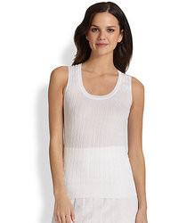 Blusa sin mangas de punto blanca
