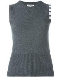 Blusa sin mangas de punto en gris oscuro de Thom Browne