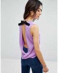 Blusa sin mangas de punto violeta claro de Asos