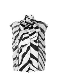 Blusa sin mangas de rayas horizontales en blanco y negro de Lanvin