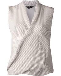 Blusa sin mangas de rayas horizontales gris
