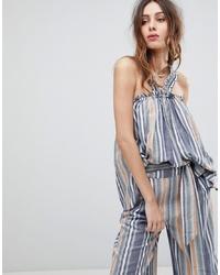 Blusa sin mangas de rayas verticales azul de Current Air