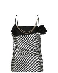 Blusa sin mangas de rayas verticales en negro y blanco de Lanvin