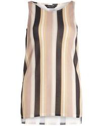 Blusa sin mangas de rayas verticales marrón claro
