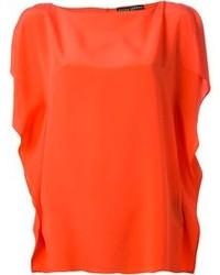Blusa sin mangas de seda naranja de Ralph Lauren