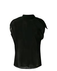 Blusa sin mangas de seda negra de MM6 MAISON MARGIELA