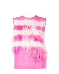 Blusa sin mangas efecto teñido anudado rosada de MSGM