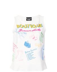 Blusa sin mangas estampada blanca de Boutique Moschino