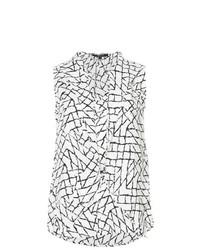 Blusa sin mangas estampada blanca de Derek Lam