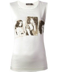 Blusa sin mangas estampada blanca de Dolce & Gabbana
