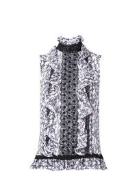 Blusa sin mangas estampada en blanco y negro de Giambattista Valli
