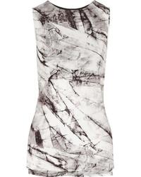 Blusa sin mangas estampada en blanco y negro de Helmut Lang