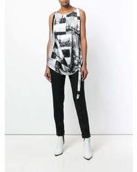 Blusa sin mangas estampada en blanco y negro de Maison Flaneur