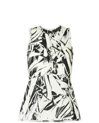 Blusa sin mangas estampada en blanco y negro de Proenza Schouler