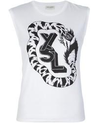 Blusa sin mangas estampada en blanco y negro de Saint Laurent